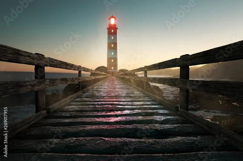 Leuchtturm am frühen Abend Obraz na płótnie