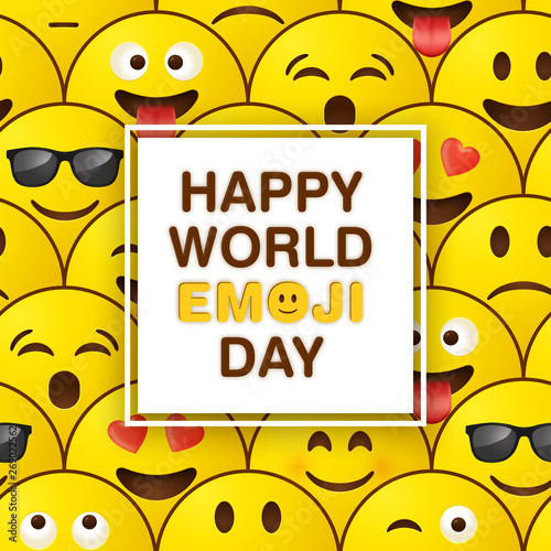 World emoji day greeting card design template with emoji background pattern Canvas Print