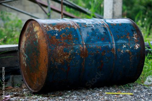 Slika na platnu old metal barrel oil,barrel oil gallon rusty