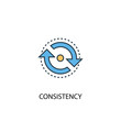 consistency concept 2 colored line icon. Simple yellow and blue element illustration. consistency concept outline symbol design