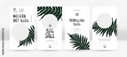 Design backgrounds for social media. Trendy tropical templates for social topical networks stories
