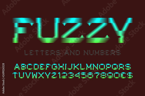 Fotografie, Obraz  Fuzzy letters and numbers with currency signs