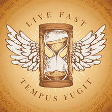 Vector Illustration With Winged Hourglass With Running Sand Inside In Retro Style. Hand Drawn Sand Clock With Wings And Words Live Fast, Tempus Fugit. Glass Timer. Time And Caducity Of Life Concept