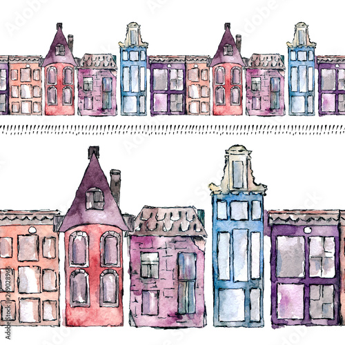 Photo  Watercolor painted traditional old buildings in Amsterdam, the Netherlands, seamless pattern