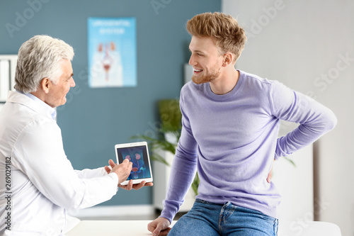 Leinwand Poster Male patient at urologist's office