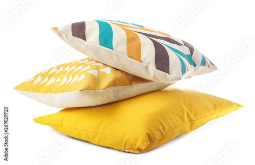 Fotomural  Soft color pillows on white background