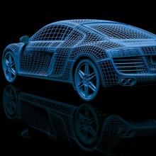 3d Car Model On A Black Backgr...