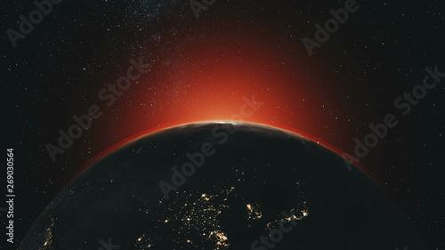 Planet Earth Orbit Zoom In Red Sunlight Radiance  Celestial