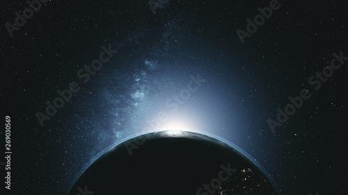 Valokuva Majestic Rotate Earth Orbit Sunlight Glow Galaxy