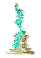 Caricature Of Sexy Woman As The Statue Of Liberty. Vector Colorful Sketch Of Naked Woman In Sexy Position. Hot Girl With Red Lips, Concept Of Victory Vector Illustration  Isolated Or White Background