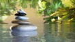 pyramid of stones above the water. Massage parlor. Spa business. 3D rendering