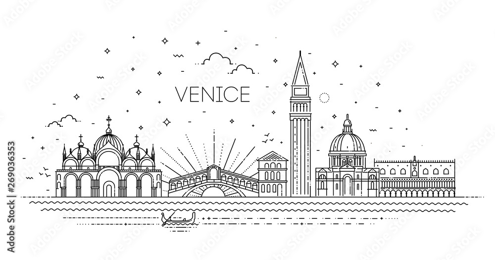 Fototapety, obrazy: Venice city, Line Art Vector illustration with all famous buildings