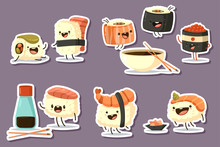 Cute Sushi Character Set. Vector Cartoon Japanese Food Illustration With Different Emotions Isolated On Background.