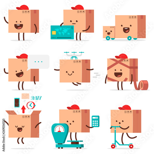 Photo  Cute delivery box characters vector cartoon set isolated on a white background