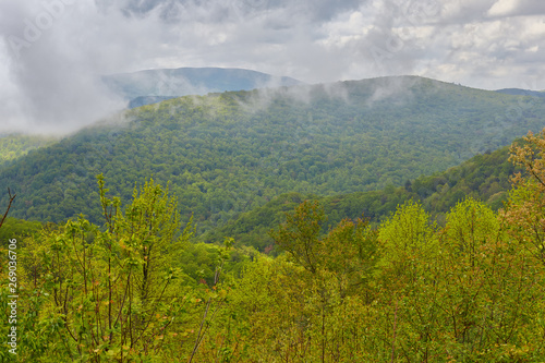 View of low clouds and mountains from the Blue Ridge Parkway near Montebello, Vi Canvas Print