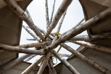 An Authentic Tee-pee From Native North Americans, Detail Of The Interior Upper Side