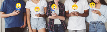 Teens Sending Emojis, Chatting In Social Networks On Phones