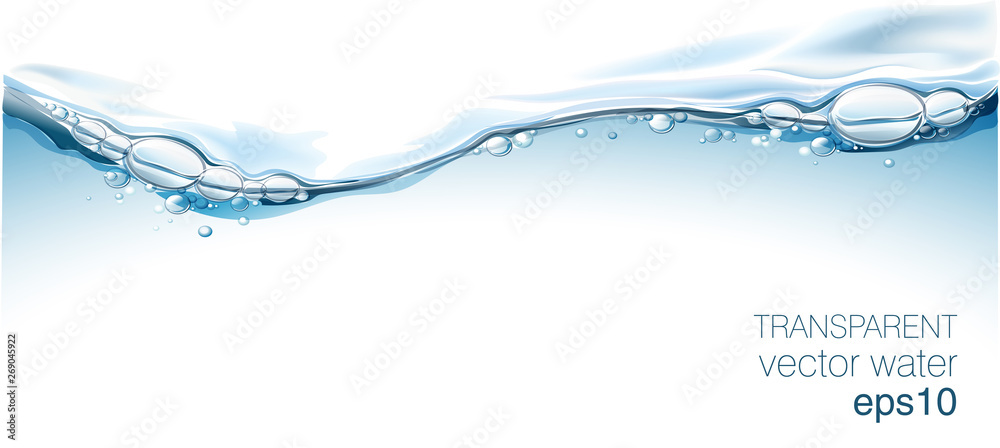 Fototapeta Water vector wave transparent surface with bubbles of air