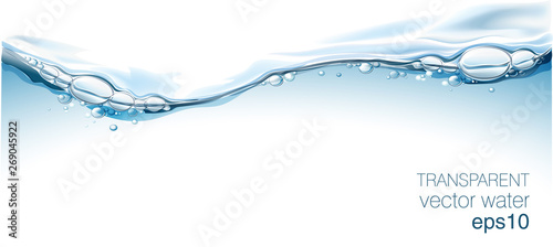 Fotomural Water vector wave transparent surface with bubbles of air