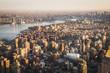 Aerial landscape on Manhattan at sunset