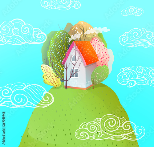 Poster Turquoise Summer House on Hill Watercolor Style Cartoon