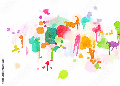 Photo  digital illustration background with watercolor texture