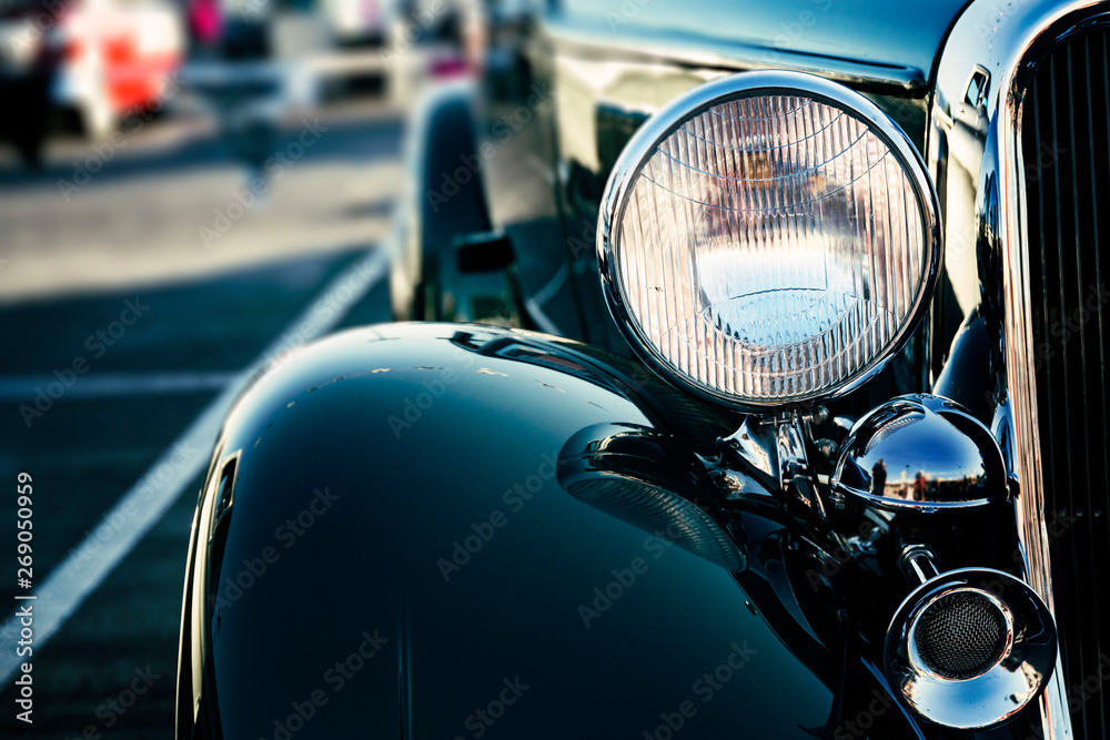 Fototapety, obrazy: Classic American car headlights close-up