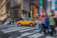NYC Yellow Cab In Motion