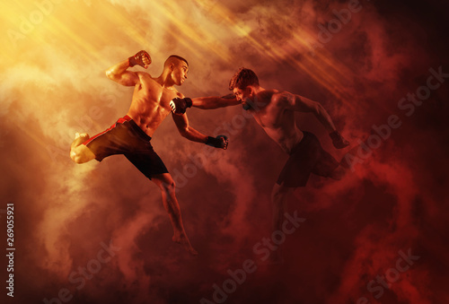 MMA boxers fighters fight in fights without rules Canvas Print
