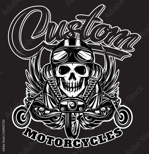 Vector monochrome image with skulls, motorcycles, wings, engine and Calligraphic Canvas Print