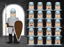 Medieval 11th Century Knight Cartoon Emotion Faces Vector Illustration-01