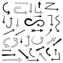 Arrows Set. Mixed Style Black Flat Icons
