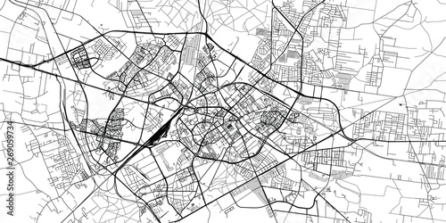 Fotografie, Obraz Urban vector city map of Bialystok, Poland