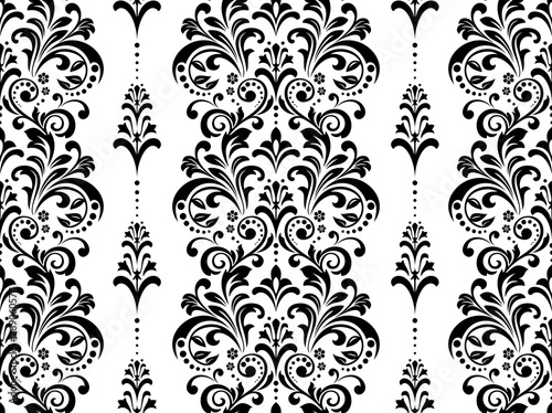 Fototapeten Künstlich Floral pattern. Vintage wallpaper in the Baroque style. Seamless vector background. White and black ornament for fabric, wallpaper, packaging. Ornate Damask flower ornament
