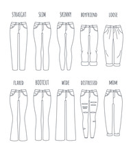 Trendy Women Jeans Styles Vect...