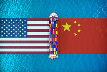 America Flags And Chinese Flag...