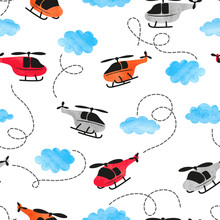 Seamless Watercolor Helicopter Pattern For Kids Design.