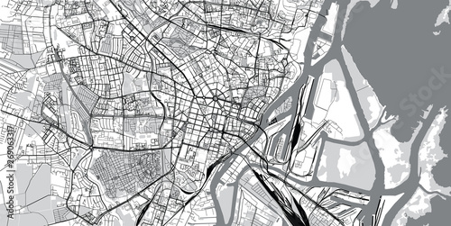 Urban vector city map of Szczecin, Poland Fototapet