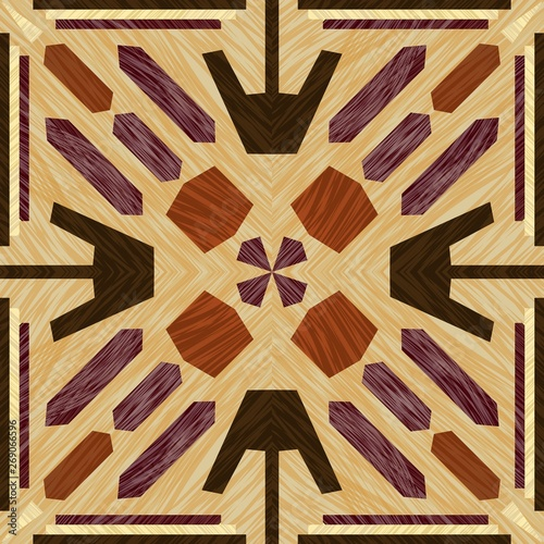 Fotografie, Obraz Inlay tile, wooden textured patterns, symmetric decorative ornament in light and