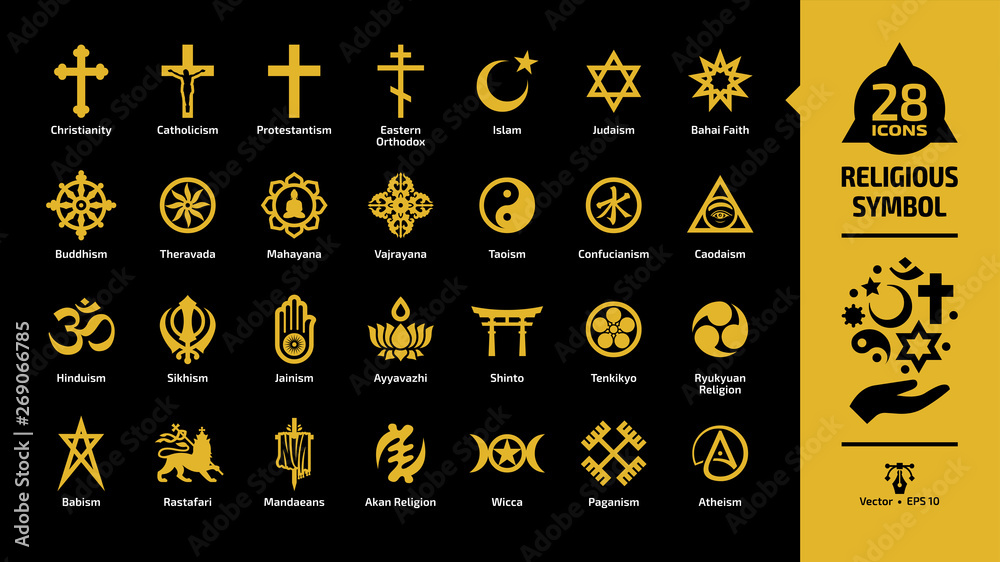 Fototapety, obrazy: Religious symbol yellow icon set on a black background with christian cross, islam crescent and star, judaism star of david, taoism yin and yang, shinto torii gate religion glyph sign.
