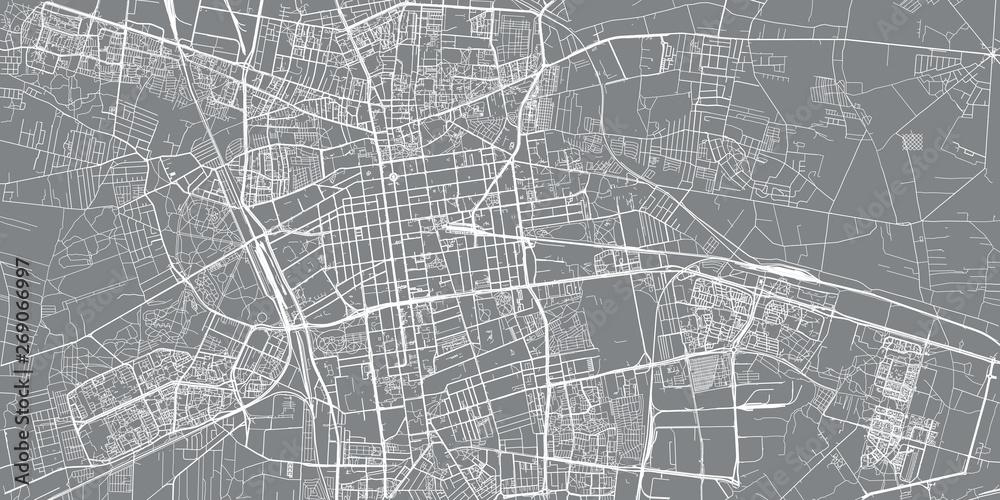 Fototapeta Urban vector city map of Lodz, Poland