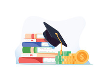 Investment In Education. Scholarship Books, Graduation Hat And Stack Of Coins. Education In Global World, Graduation Cap