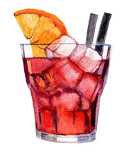 Cocktail With Ice And Orange Isolated On White Background, Watercolor Illustration
