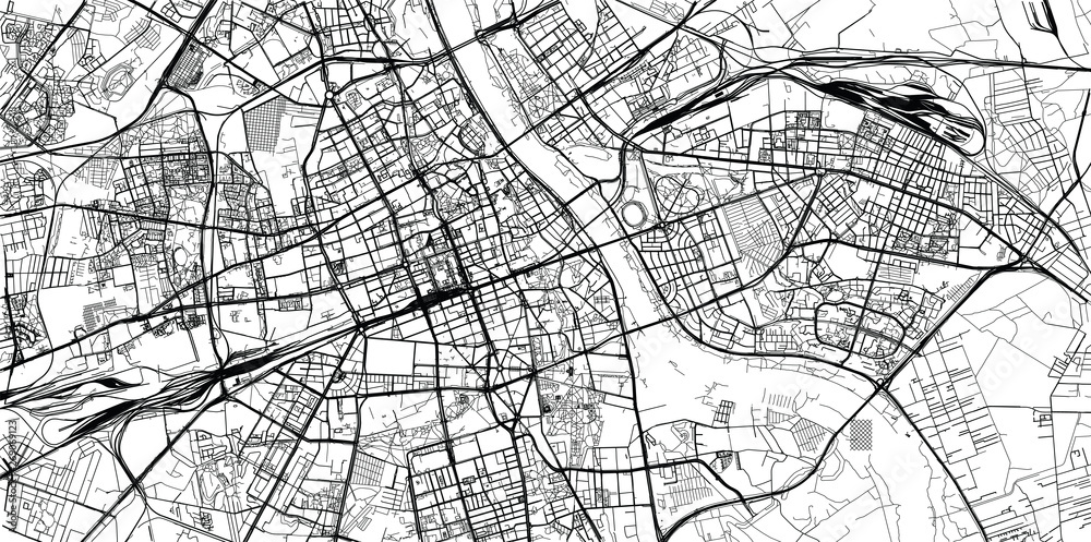 Fototapety, obrazy: Urban vector city map of Warsaw, Poland