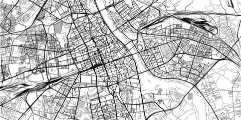 NaklejkaUrban vector city map of Warsaw, Poland