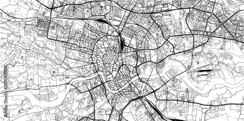 Urban vector city map of Krakow, Poland