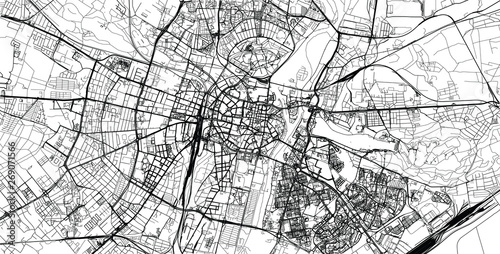 Fotografía  Urban vector city map of Poznan, Poland