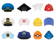 Hats And Helmets Of Different ...