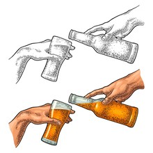 Male Finger Pouring Beer From ...