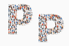 Large Group Of People In Letter P Form